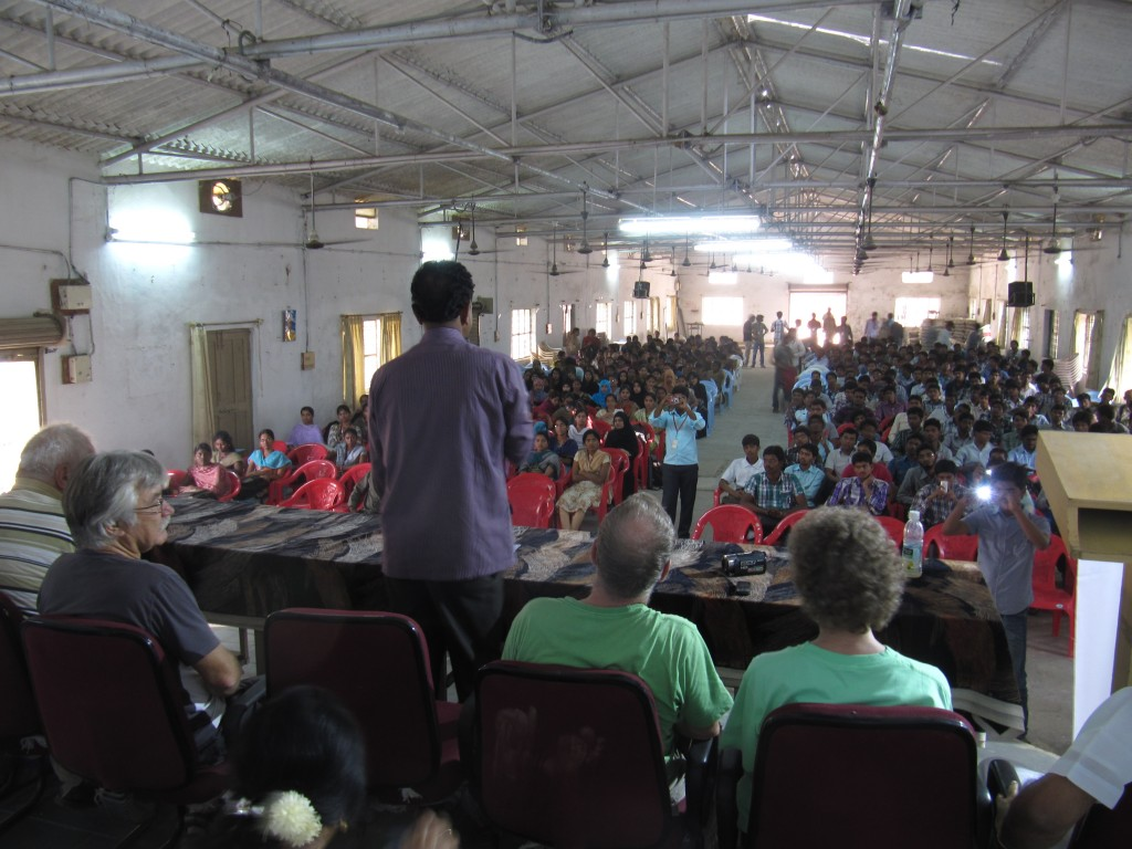 packed hall for student interaction