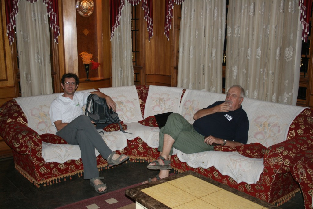 hindupur, relaxing in the lobby of our hotel