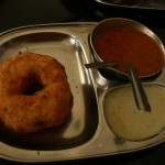 breakfast in shimoga. the donut thingy is made of rice