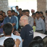 speaking to the students at the second college