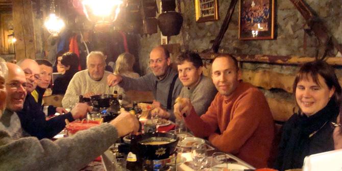typical swiss scene in winter at many restaurants: fondue! mmmh!