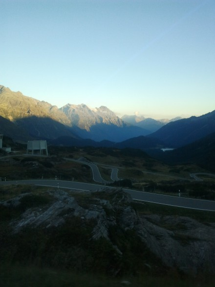 the road snakes its way up the bernardino pass
