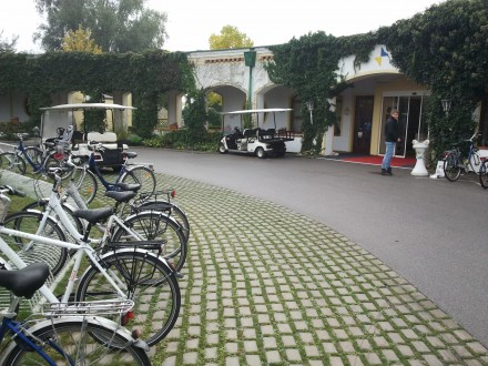 bikes and ev-buggies at this eco-resort