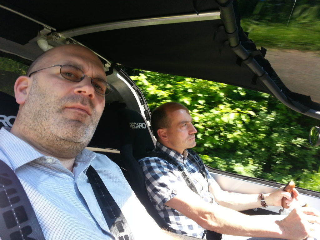 fine mobile's CEO and me testdriving TWIKE 4