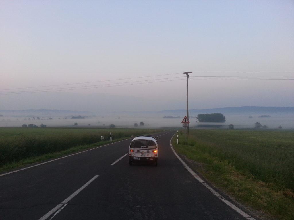 descending into morning fog - central germany