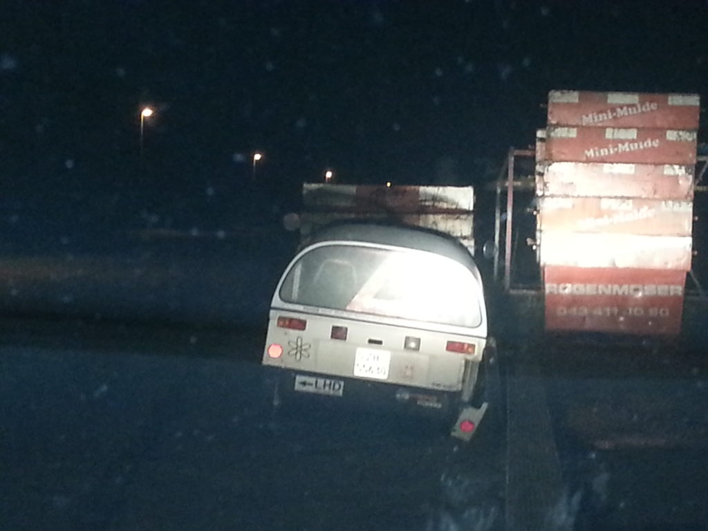 nearly crashed into those containers!