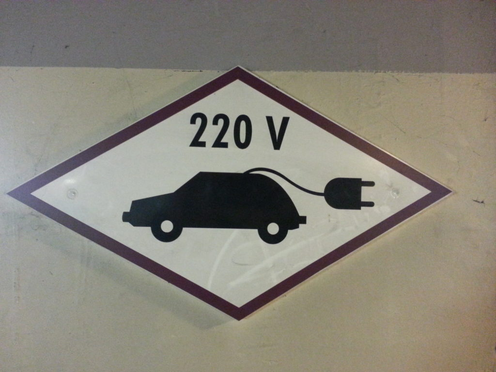 old school charging point sign