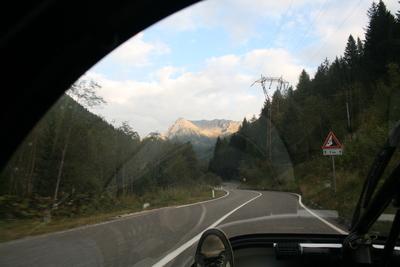 climbing the passo di san pellegrino