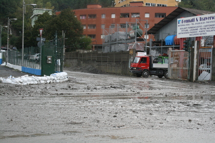 genova took quite a beating last night - sandbags tried to limit the damage
