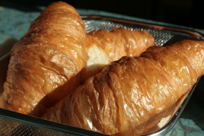 "croissants, locally known as ""gipfeli"""