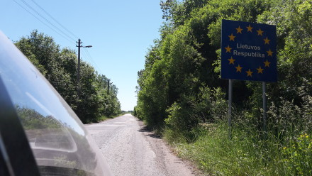 welcome to lithuania...on a single lane road