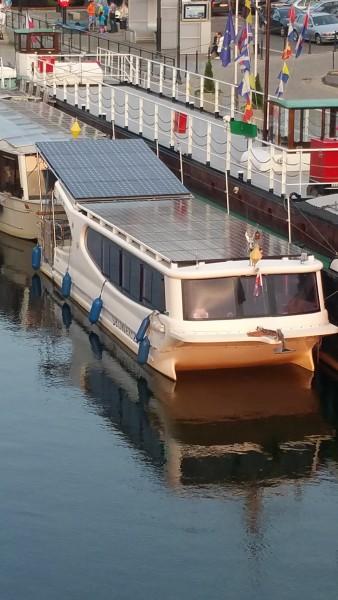 Bydgoszcz canal with solar boat
