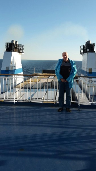 JC outside Gotland on ferry
