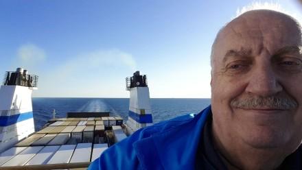 JC selfie outside Gotland on ferry