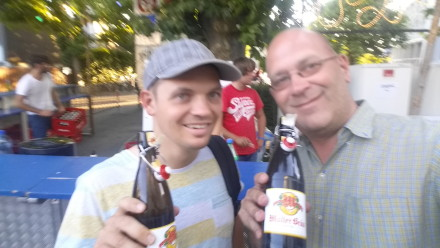 much later that evening - sampling local beer