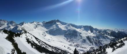 Liechtenstein Alps, Malbun village, Swiss Alps in the background