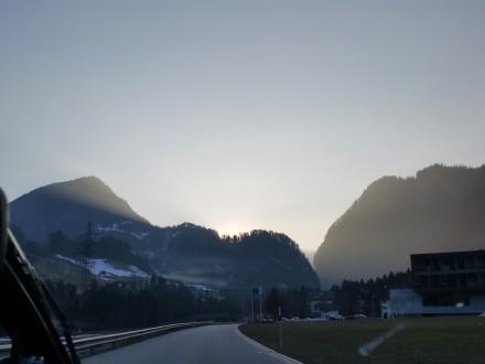 Driving towards Malans + sunset