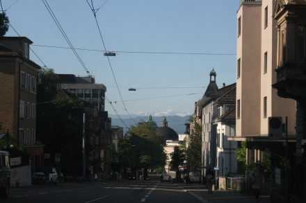 Central Zurich - mountains beckon
