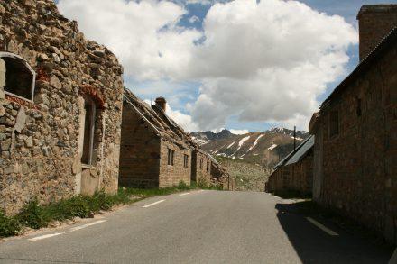 Deserted ghost town halfway down col de la bonette