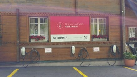 First Tesla destination charge in Switzerland