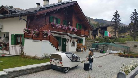 Our chalet and fully charged TWIKE