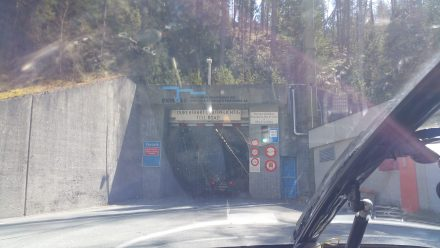 Tunnel entrance on our way to Livigno