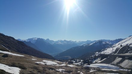 Soaking in the panorama before descending to Bormio