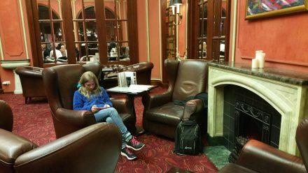 Warming up in hotel Carlton's mirror bar