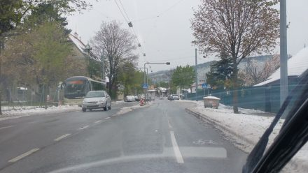 Leaving Vienna: Yesterday's snow is still everywhere