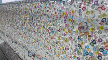 Entrance of Ars Electronica - covered in day-pass stickers