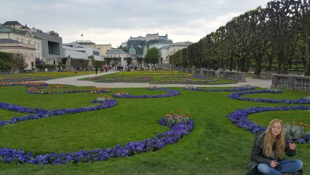 Mirabell castle gardens - Salzburg castle in the background