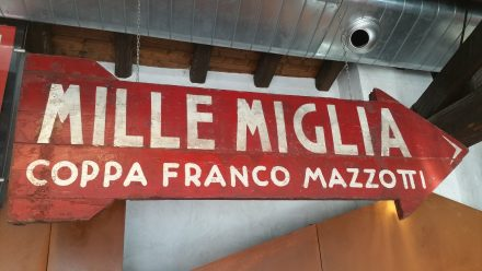Historic sign for Mille Miglia