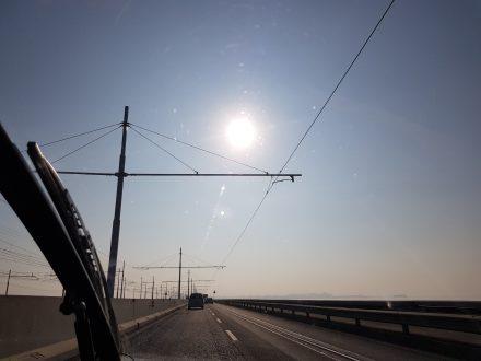 The rim-shredding single-rail on the causeway to Venice