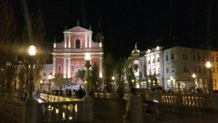 Central square and three bridges at night
