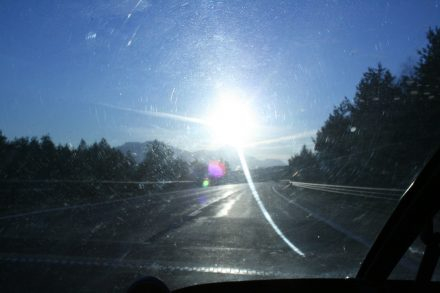 Late afternoon on the motorway towards the Italian border