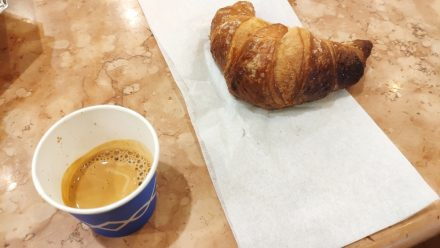Sweet cornetto and Italian Espresso