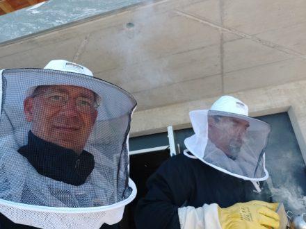 Seb and me beekeeping