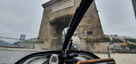 Entering Porto's bridge - dramatic view from TWIKE