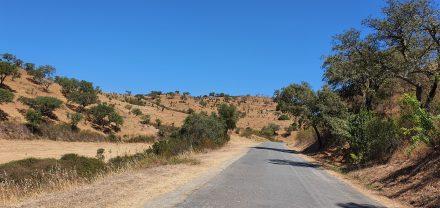 Deserted single-lane roads in rural Portugal