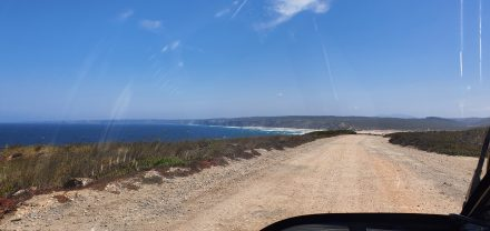 Driving along the coast on small, hidden roads