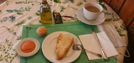 A typical spanish breakfast - pan con tomate
