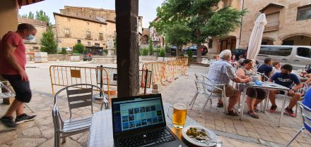 Writing for the blog with some tapas