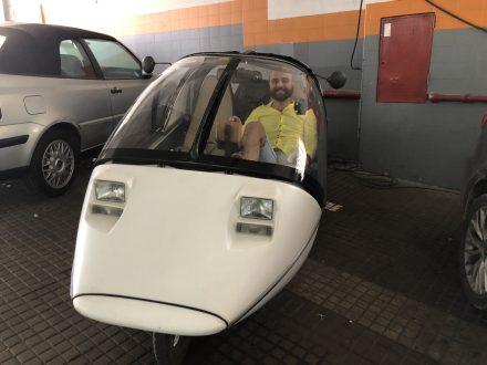 Leonardo ready for a trip with the TWIKE